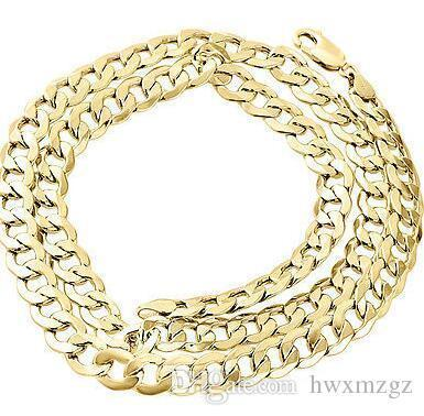 Mens Real 10K Yellow Gold Hollow Cuban Curb Link Chain Necklace 8mm 24 Inch