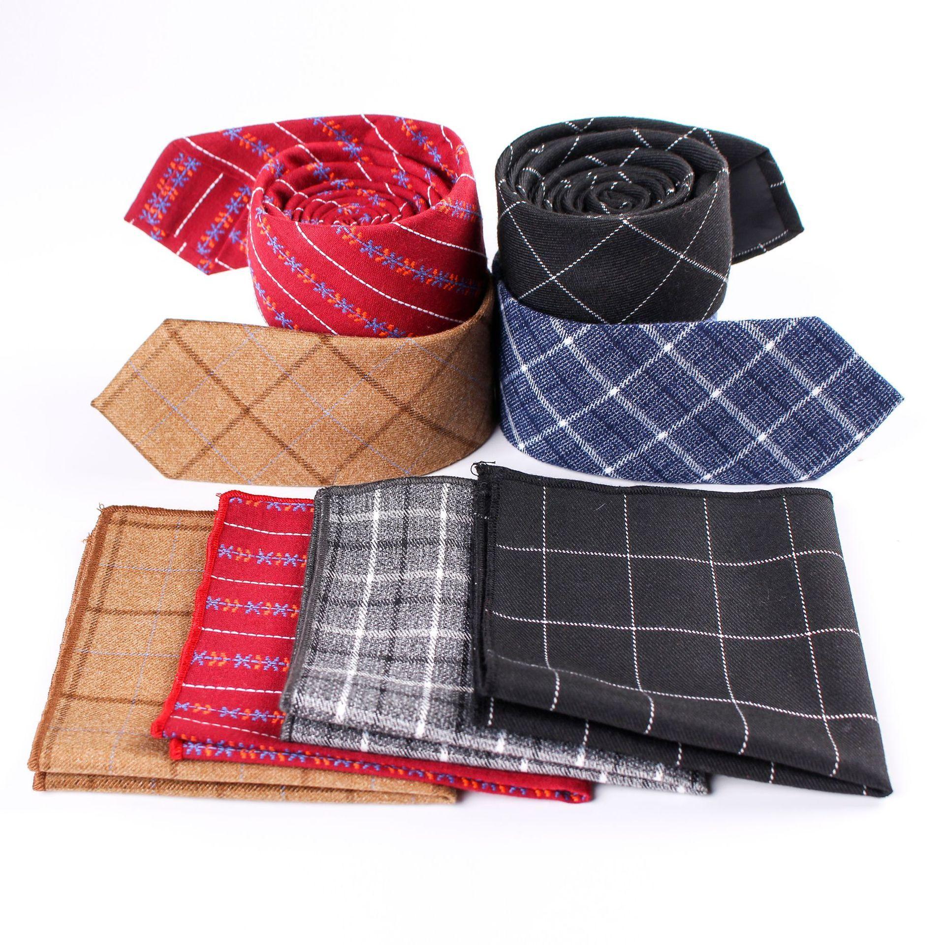 6ec7de87b9ea Business and leisure tie Men's cotton checked pocket towel wedding party  Fashion Tie Suit