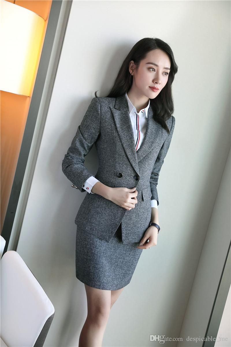 4cfa8093cf11 Mode Grau Uniform Designs 2 Stück Tops Und Rock Für Damen Arbeitskleidung  Business Blazer Jacken Sets Herbst Winter