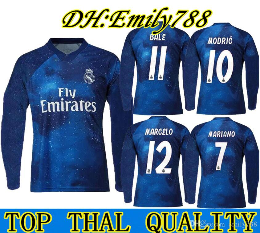 f892ba5f3f7 2019 Long Sleeves Real Madrid Limited Edition Soccer Jersey Blue EA Sports  18 19 Jerseys  12 MARCELO  10 MODRIC Special Version Football Shirts From  ...