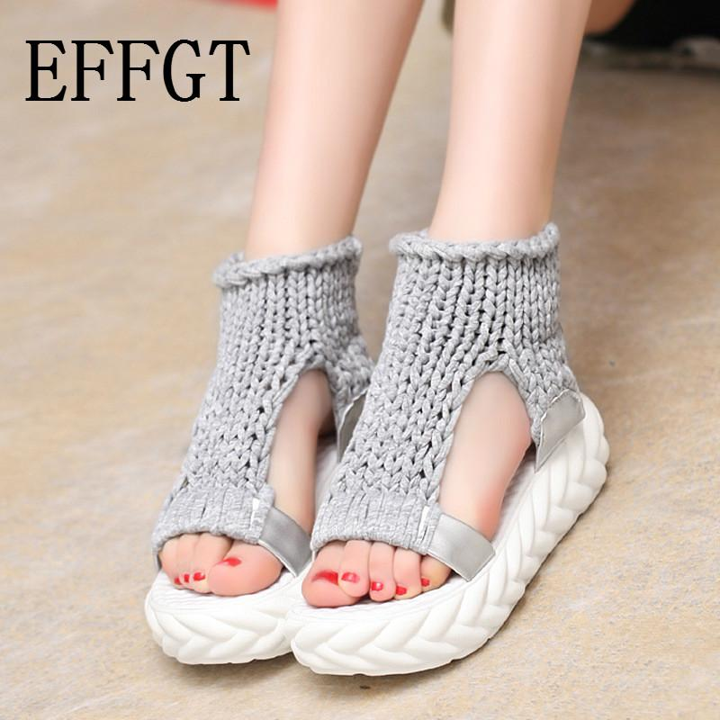 EFFGT 2019 New shoes Women Summer Hollow out Sandals on the platform flip flops gladiator Bottom Women Casual Sandals Shoes