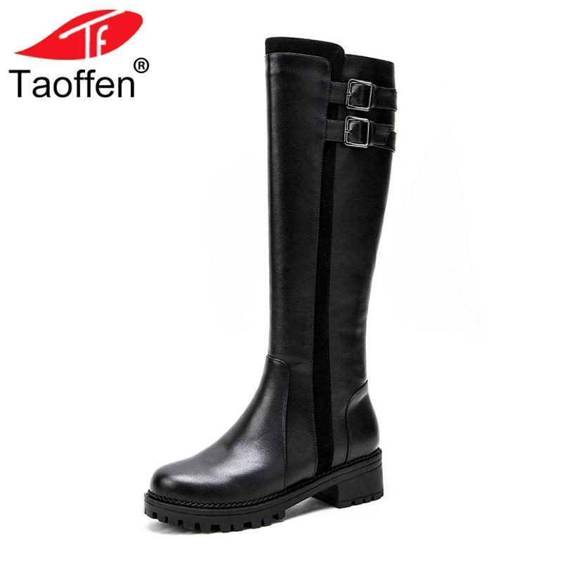 6b30fa91b508 Carzicuzin Women Knee High Boots Genuine Leather Winter Shoes Women Buckle  Warm Fur Flats Boots Designer Riding Shoes Size 25 28 Black Boots For Women  ...