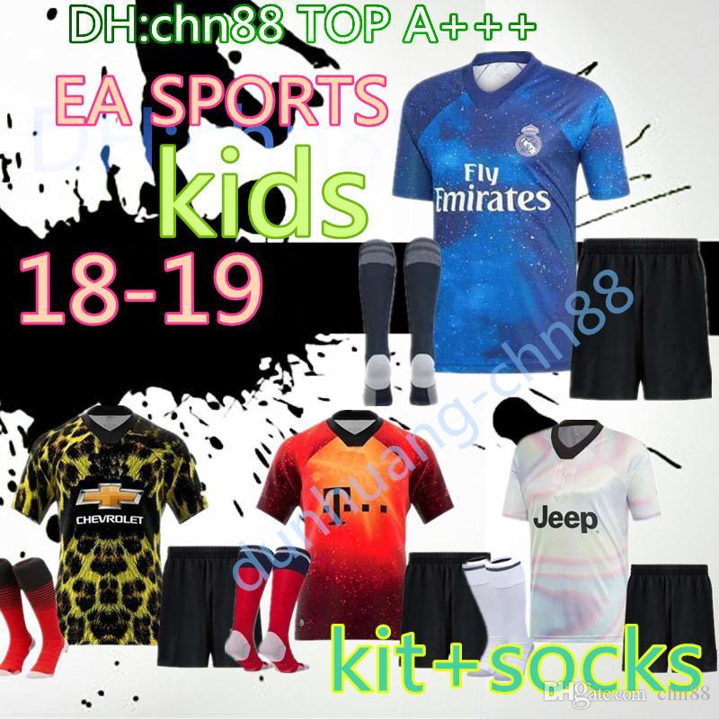 new styles a409d 7bd7e kids kit+socks EA sports 4th shirt juventus Soccer Jersey RONALDO football  shirt Manchester United POGBA real madird ASENSIO Modric soccer