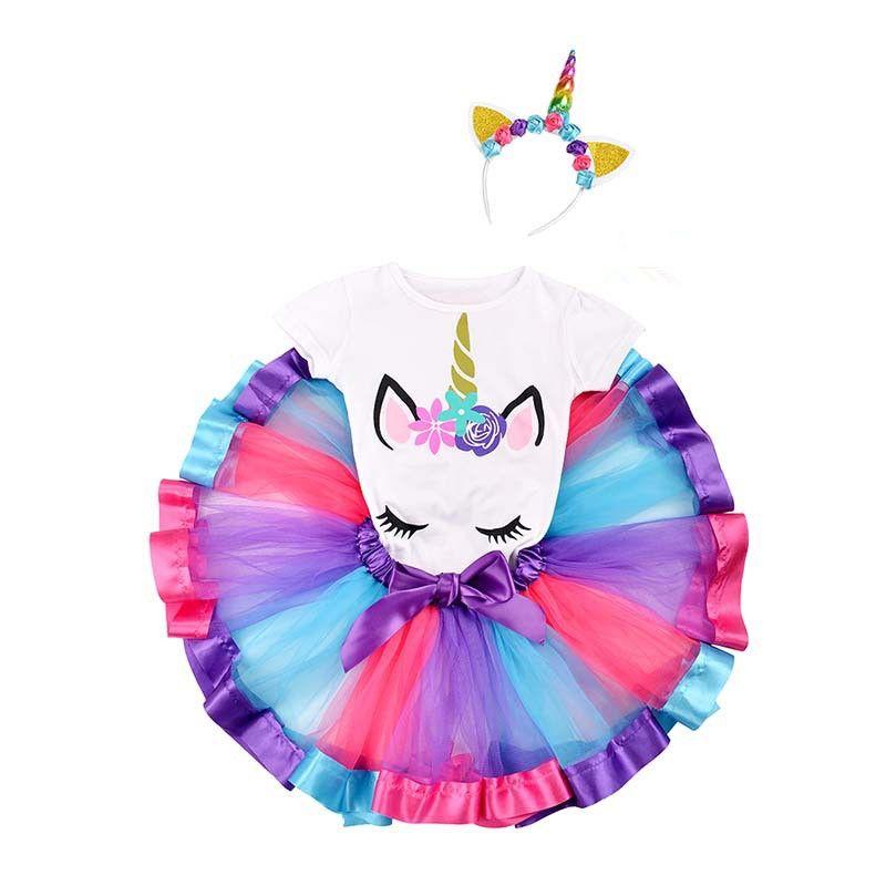 498e8fb91b13e Children's Clothes Summer Smash Cake Dress Princess Unicorn Cotton Dresses  Infant Rainbow Vestidos Girls Party Birthday Clothes