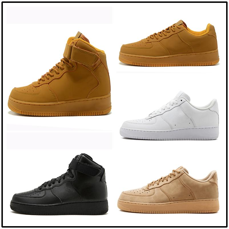 Casual shoes White One 1 Dunk Men Women Casual Shoes Sports Skateboarding Ones Running High Low Cut Wheat Brown Trainers Sneakers 36-45 kj04
