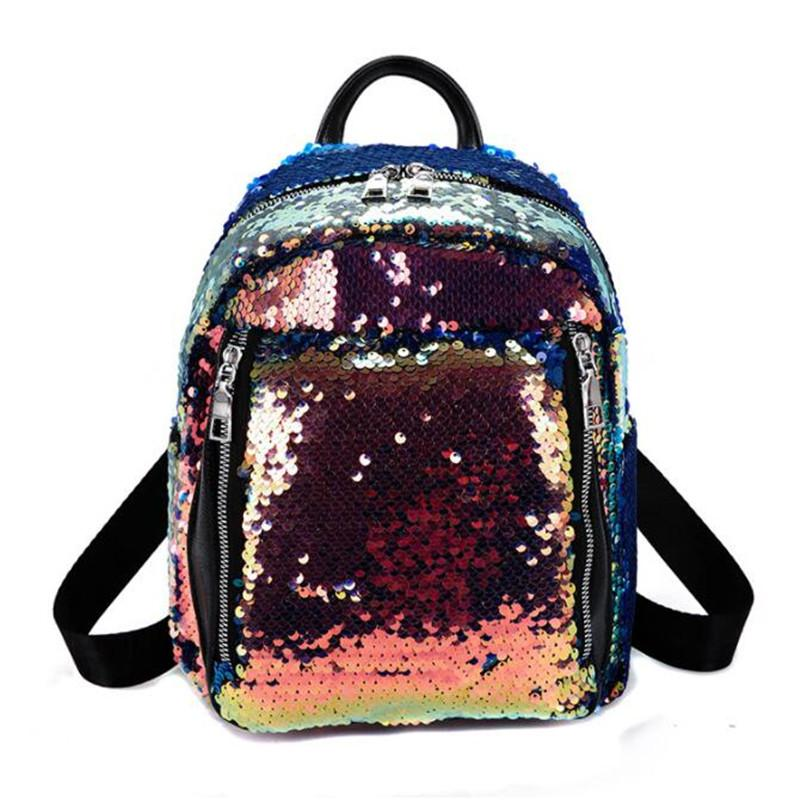 2019 New Sequins Travel Bags Colorful Leather School Bags for Girls ... a6b5d2fb16ca9