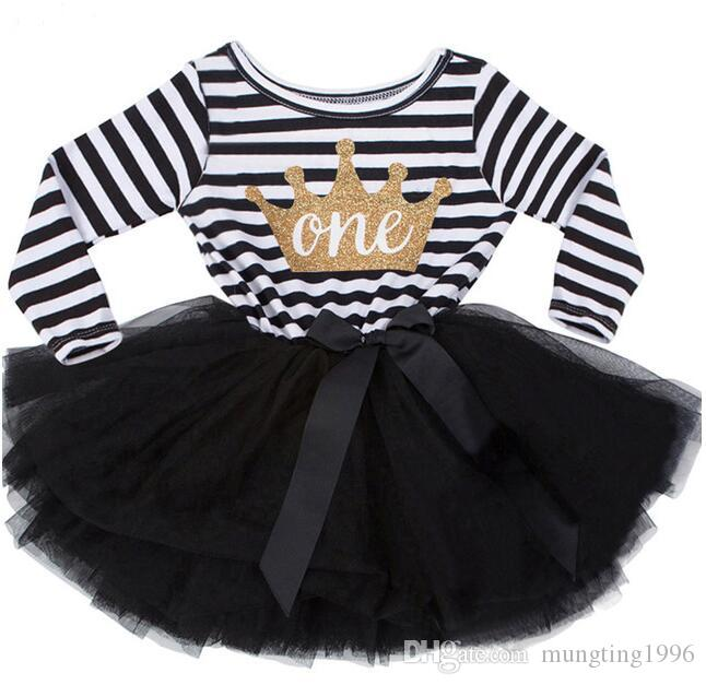 202a19c3d 2019 Baby Girls Stripes Black Valentine'S Day Tutu Dress Children Boutique  Dress Kids Cute Cotton Party Dress Birthday Crown Clothing From  Mungting1996, ...