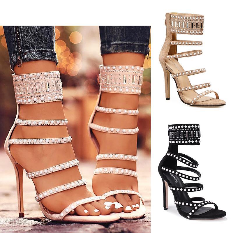 cb69658f2eb 11cm high heels summer gladiator sandals sexy open toe narrow band beaded  prom dress pumps women summer shoes