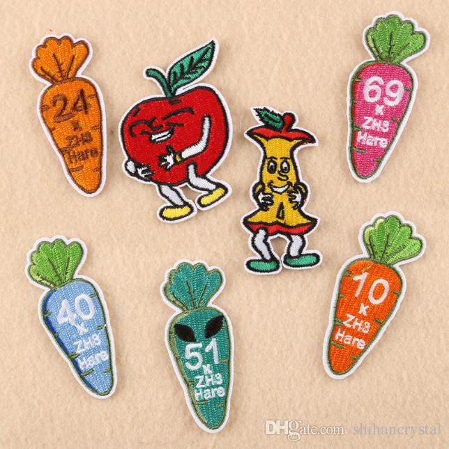 2019 Cartoon Carrot Vegetables Fruit Embroidered Patches For Sewing