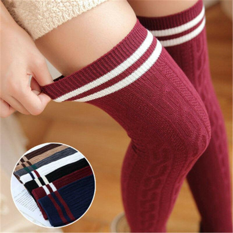 Fashion Women Girls Warm Knit Cotton Soft Over The Knee Long Couple Ankle Striped Thigh High Stocking Black Beige Khaki Gray