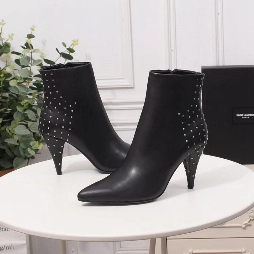 2019 Hot Women Leather Boots Mid Boots With Elastic Fashion Boots With Holes High For Fashion Lady Heel-height Street Style