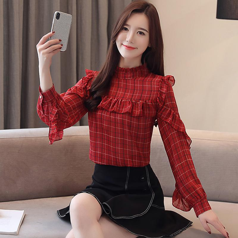 813b0b3cf78327 2019 2019 New Spring Fashion Women Shirts Ruffles Stand Neck Chiffon Western  Style Goods Blouse Shirt 9838 From Roberr, $25.49 | DHgate.Com