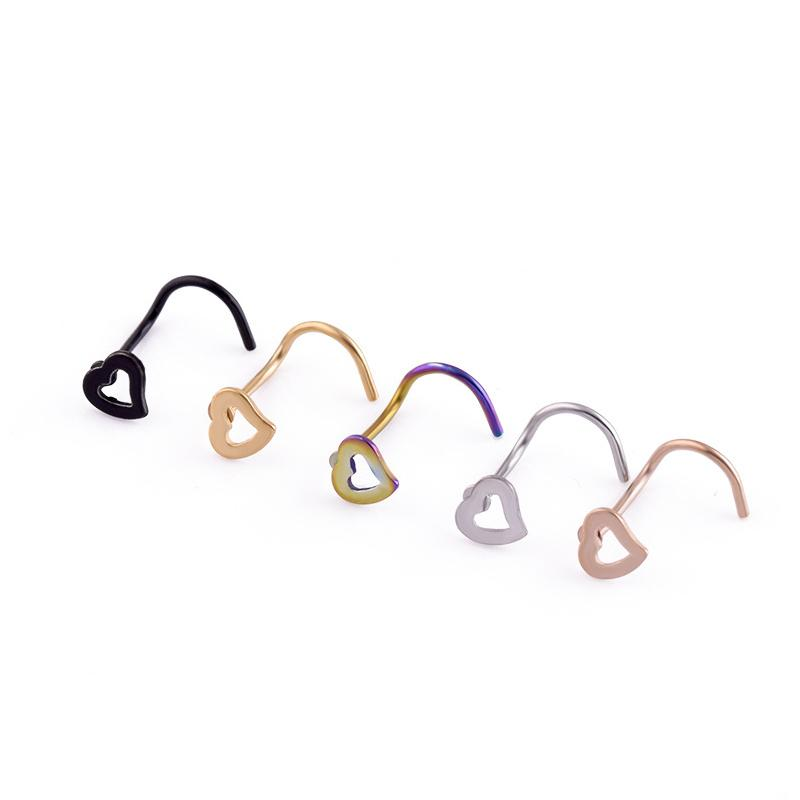 7 Colors Body Jewelry Hollow Heart Stainless Steel Corner Nose Screw Rings Studs Piercing Nail Fashion Jewelry