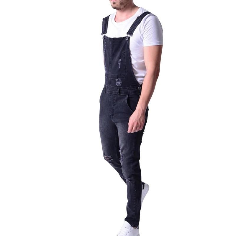 Men Jeans 2019 new Men's Slim Fit Ripped Denim Overalls Casual Bib Pants Jumpsuit men overall fashion jeans