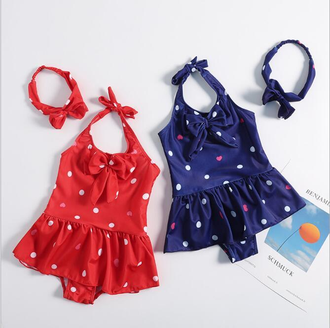 c3fcf5652 2019 2019 Kids Swimwear Baby Swimsuit With Hair Bow Kid Bikini ...