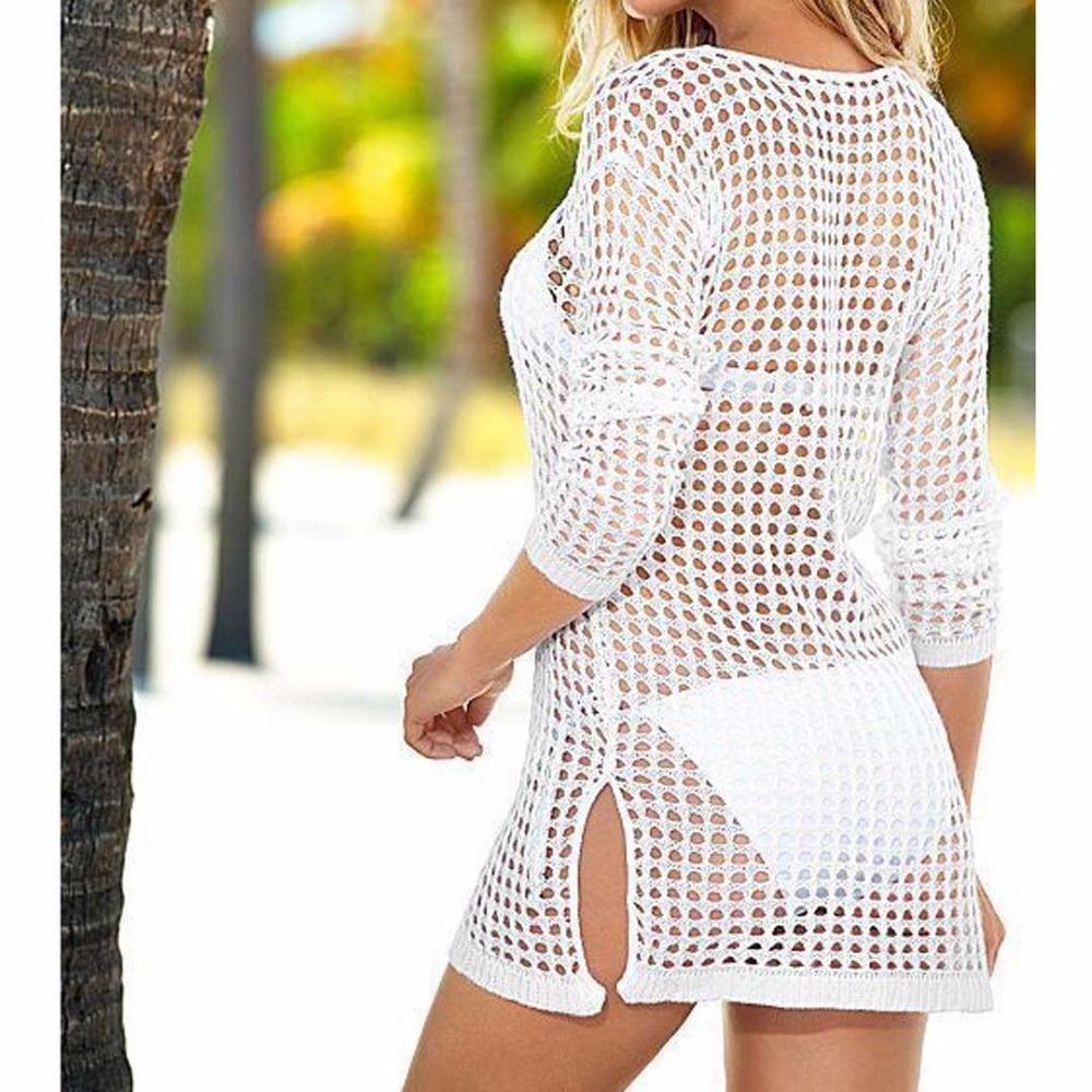 Seeer Sheer 섹시한 여성 수영복 여성 비치 드레스 비치웨어 Crochet cover-ups beach Covers Ups 비키니 니트 비치웨어 Y96
