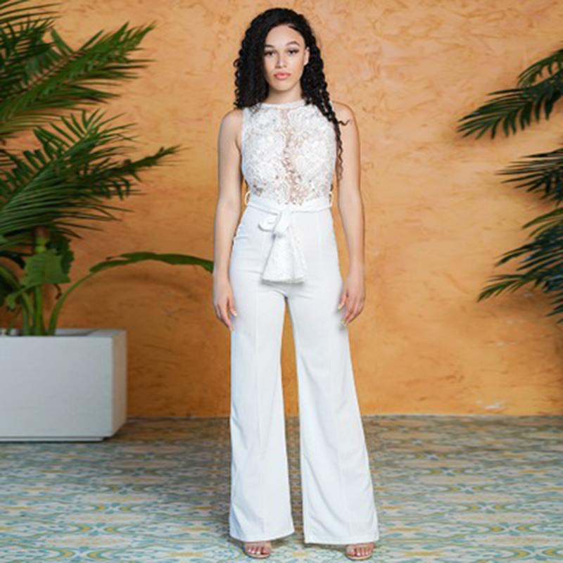 50a67319e8f8 Women Sexy White Lace Top Wide Leg Long Pants Jumpsuit High Waist ...