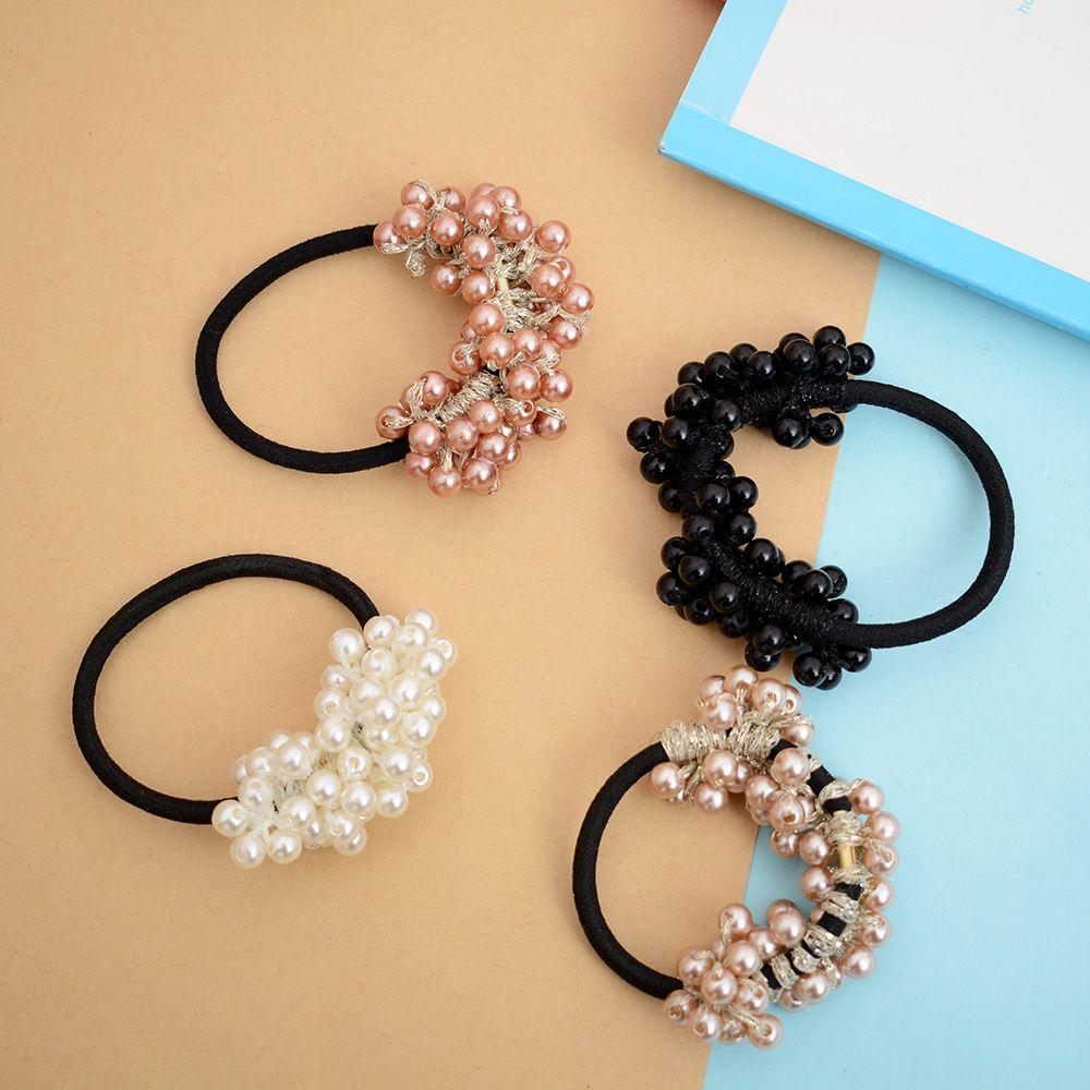 85c863631b5 2018 Women Hair Accessories Pearl Elastic Rubber Bands Ring Headwear ...
