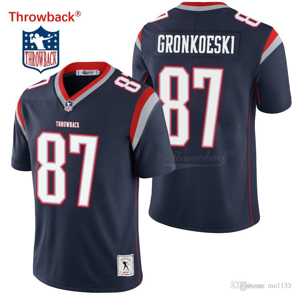 on sale 60777 7e9f7 Throwback Jersey Men's New England American Football Jersey Gronkowski  Jerseys Black Size S-XXXL Free Shipping Wholesale