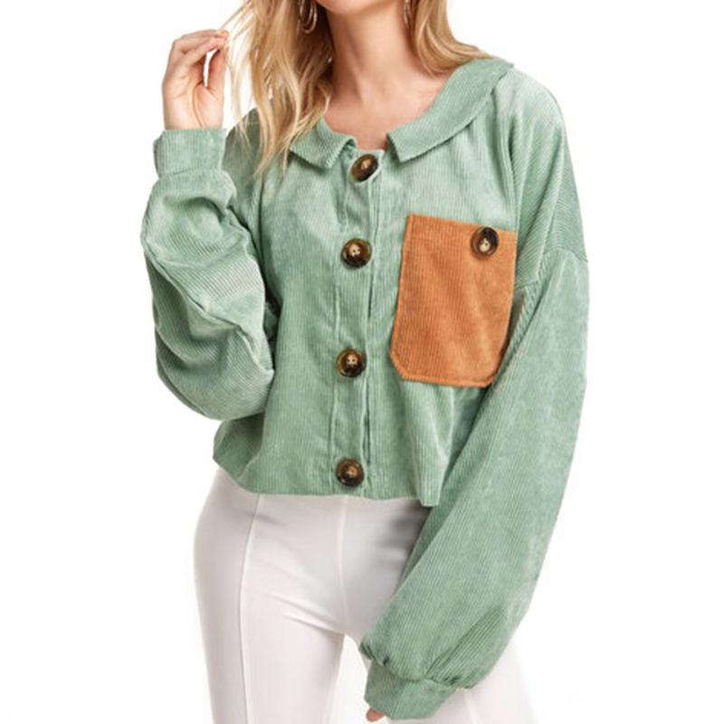 661b12b49a8586 ISHINE Nice Pop Corduroy Short Coat Corduroy Jacket Autumn And Winter Women  s Jacket Color Pocket Splicing Contrast Color Online with $45.31/Piece on  ...