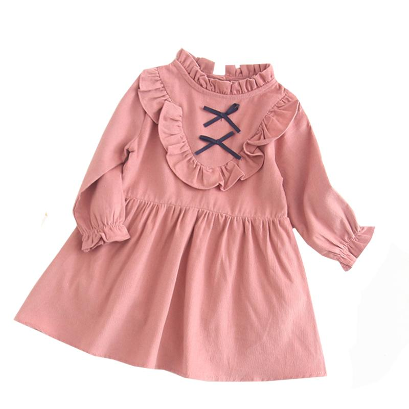 Spring Autumn Girl Clothes Kids Dresses For Girls Bow Flower Dress Baby Girl Party Wedding Dress Children Princess