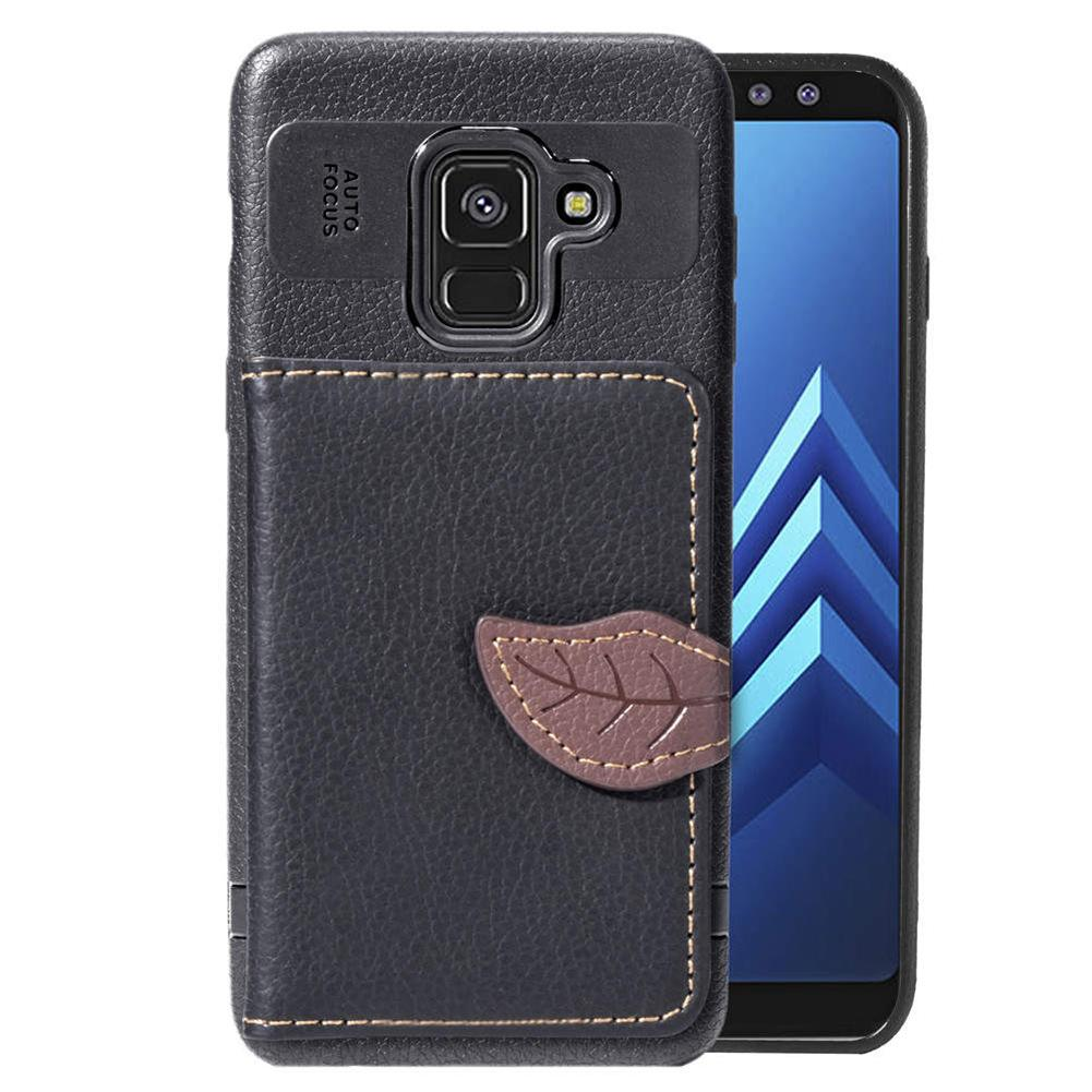 PU Leather Case Cover for Galaxy A8 Plus 2018 Light Weight Phone Stand Leaf Clip with Wallet Card Slot Money Pocket 97 Models for Option