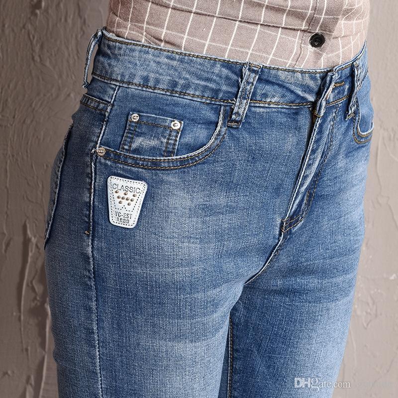172e838fe1 Compre Summer Cuffs Tobillo Longitud Pantalones 2019 Nuevos Pantalones  Delgados Del Lápiz Para Los Estudiantes De Las Muchachas De Las Señoras  Jeans De La ...