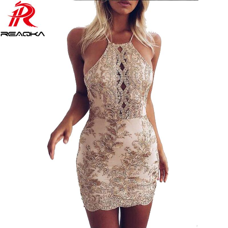 8216ee5d7c0e6 Reaqka New Arrival Chic Embroidery Celebrity Bodycon Strap Sundress 2018  Sexy Sleeveless Halter Hollow Lace Club Hl Dress Party Q190418