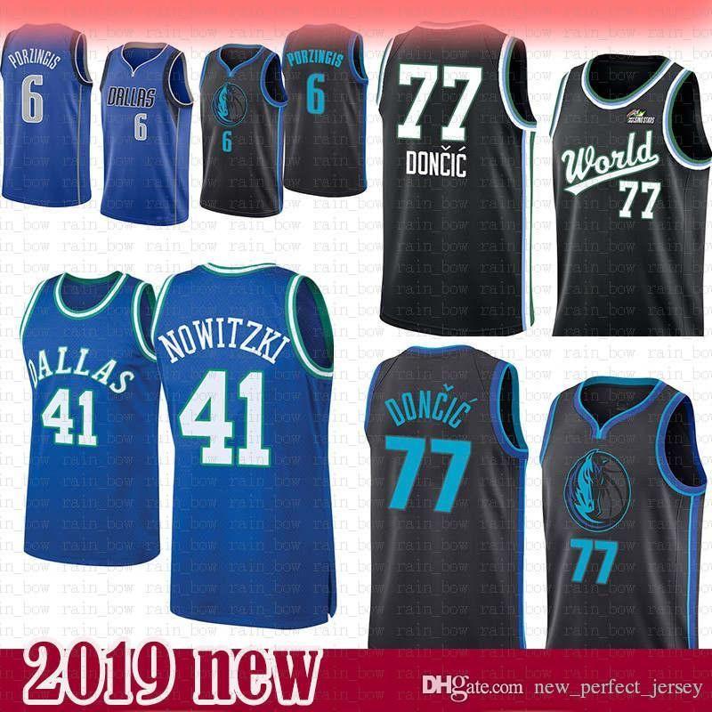 78b4b47d 2019 41 Dirk # Nowitzki Dallas Jersey Mavericks 6 Kristaps # Porzingis 77  Luka #Doncic Basketball Jerseys Mesh Retro Blue From Rain_bow, $27.23 |  DHgate.Com