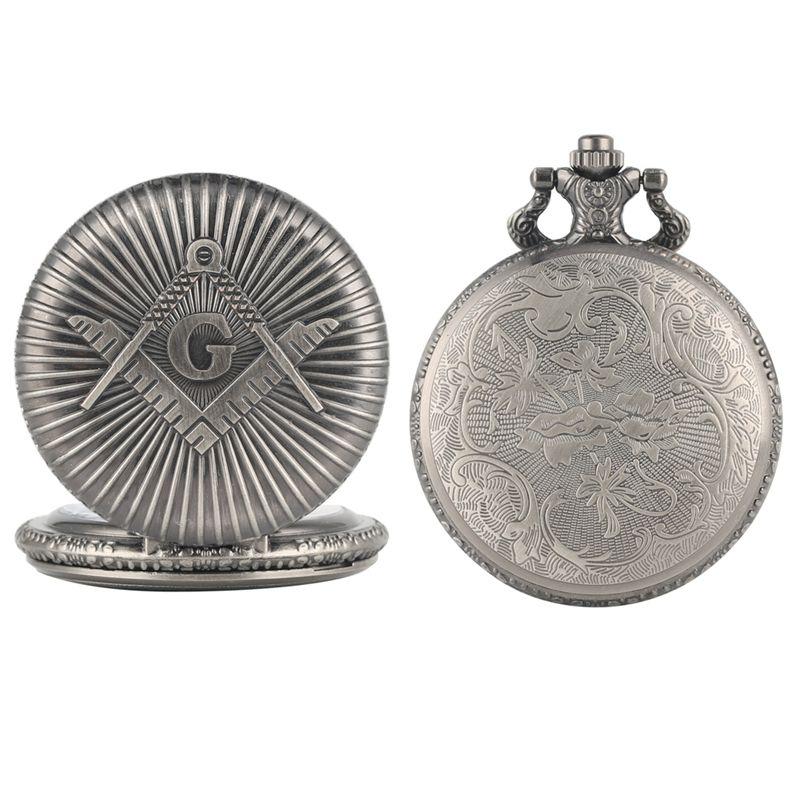 Retro G Freemasonry Masonic Pattern Antique Vintage Silver Gray Quartz Fob  Clock Pendant Pocket Watch With Chain Necklace Gifts