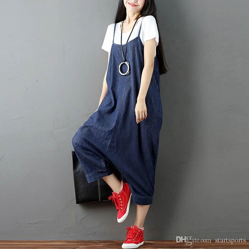 25bd4bdc858e 2019 ZANZEA Women Strappy Sleeveless Harem Romper Loose Dungarees Overalls  Denim Blue Linen Suspender Jumpsuit Solid Bib Pants S 5XL  401070 From ...