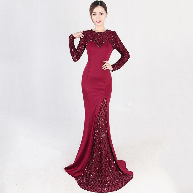 2019 Elegant Luxury Wine Red O Neck Long Sleeve Plaid Pattern Sequin Party  Club Dress Sexy Long Mermaid Gown Ladies Formal Dresses C18121701 From  Linmei0006 ... d773b1128da6