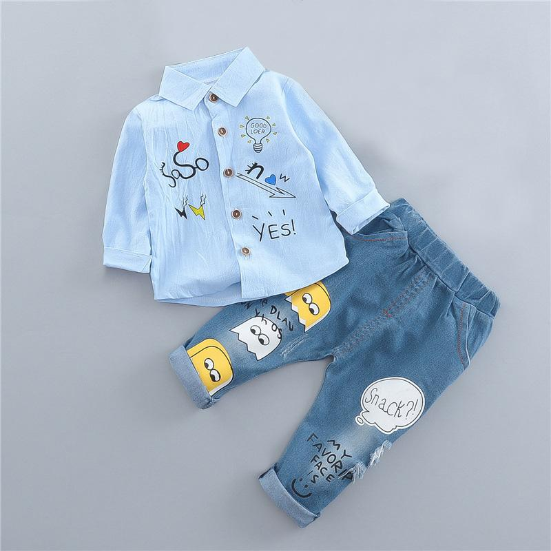 2020 Spring Shirt Kids Clothes Boys Long Sleeve Printing Shirt and Jeans Casual Baby Boy Clothing Pants 2 Pcs Sets
