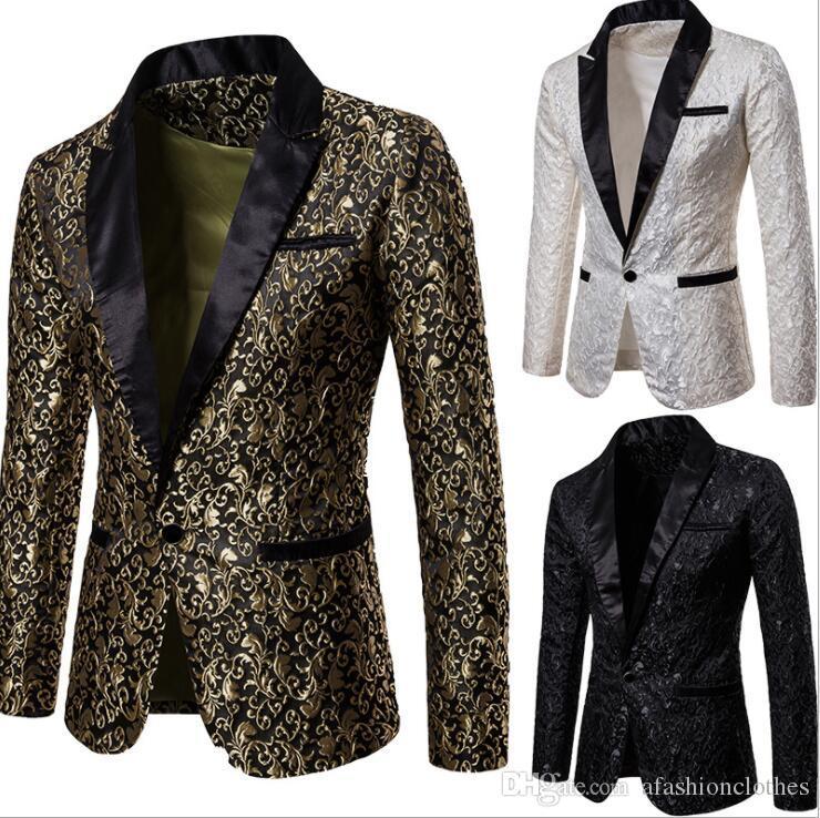 7d3fc91a Suits Men Blazer Jacquard Fashion Clothes Masculino Slim Fit Casaco ...