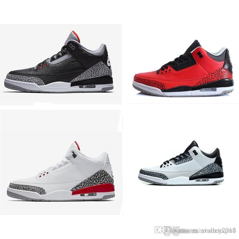 7561d181a68 2019 Mens AJ 3 Basketball Shoes 3s Retro Quai54 Black White Cement Gum Fire  Red Katrina Wolf Grey J3 Kids Sneakers Boots Size 7 13 From Rainvalley2010,  ...