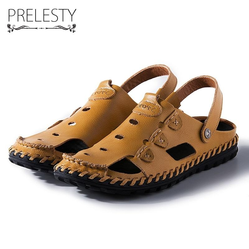 4db55615ba0022 Prelesty Summer Men Sandals Breathable Hollow Out Fashion Handmade Sewing Elastic  Band Cow Leather Waterproof Beach Flats Shoes Summer Sandals Men Sandals ...