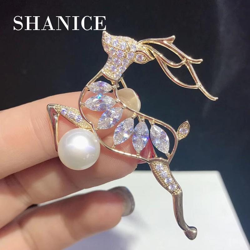 6e78a3861ec SHANICE Cute Deer Brooches For Women 2019 Fashion CZ Crystal Stone Brooch  Scarf Lapel Brooch Pins Animal Jewelry for Chirstmas Online with  $26.23/Piece on ...