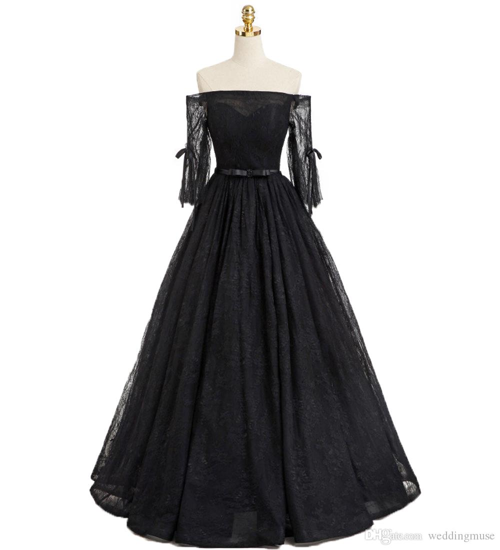 15fbb432a43 Off Shoulder 2019 Black Prom Dresses Lace 3 4 Long Sleeve Formal ...