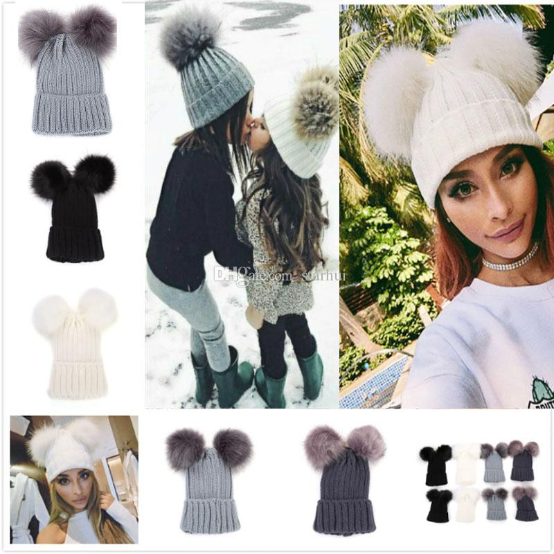 9d4aaf5d65f Knitting Warm Hats With Double Fur Ball Pop Winter Beanie Hats Mom And Baby  Family Matching Outfits Newborn Kids Baby Crochet Caps WX9 1127 Party Gift  Party ...