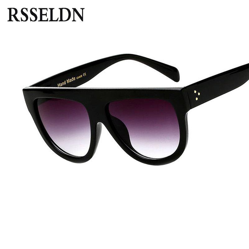 8cd96017fdea RSSELDN Flat Top Oversized Square Sunglasses Women Gradient 2018 Summer  Style Classic Women Sun Glasses Big Square Eyewear UV400 C18122501 Cheap  Eyeglasses ...