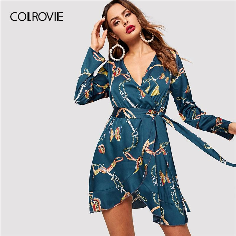 b60dd9698d COLROVIE V Neck Belted Wrap Scarf Print Long Sleeve Party Dress Women 2019  Spring High Waist Midi Office Ladies Sexy Dresses Satin Dress Dress For  Women ...