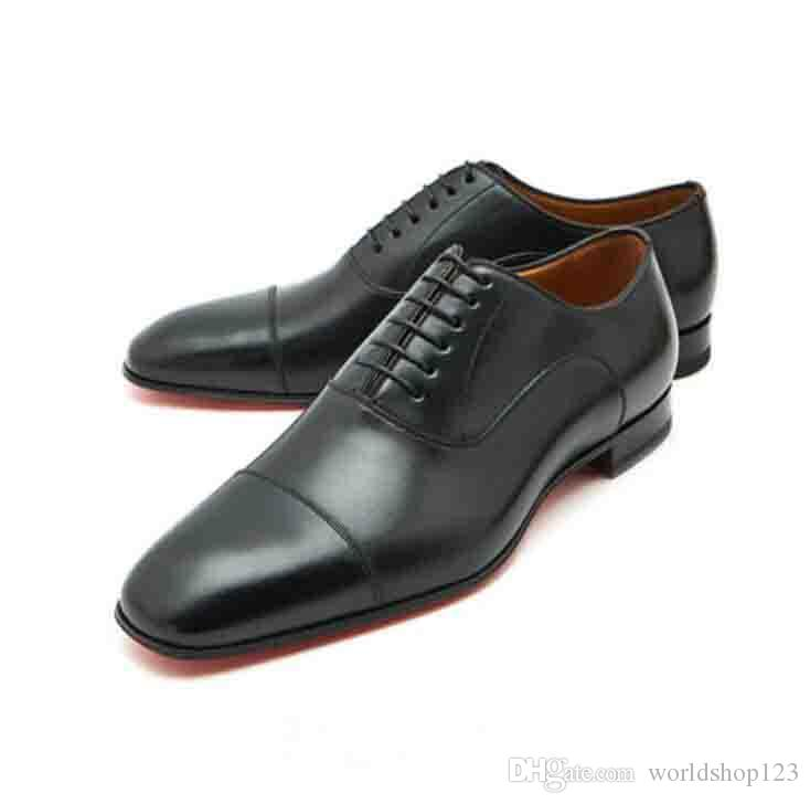 3c466e3cf59 Men Wedding Flat Shoes Luxury Quality Red Bottom Loafers Lace-up Low Heels  Greggo Flat Black Leather Oxford Shoes Party Dress