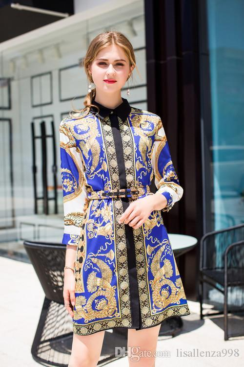 2018 Autumn Flora print Lapel Neck A Line Knee Length Long Sleeve Empire Prom DResses Evening Dresses Luxury Dress