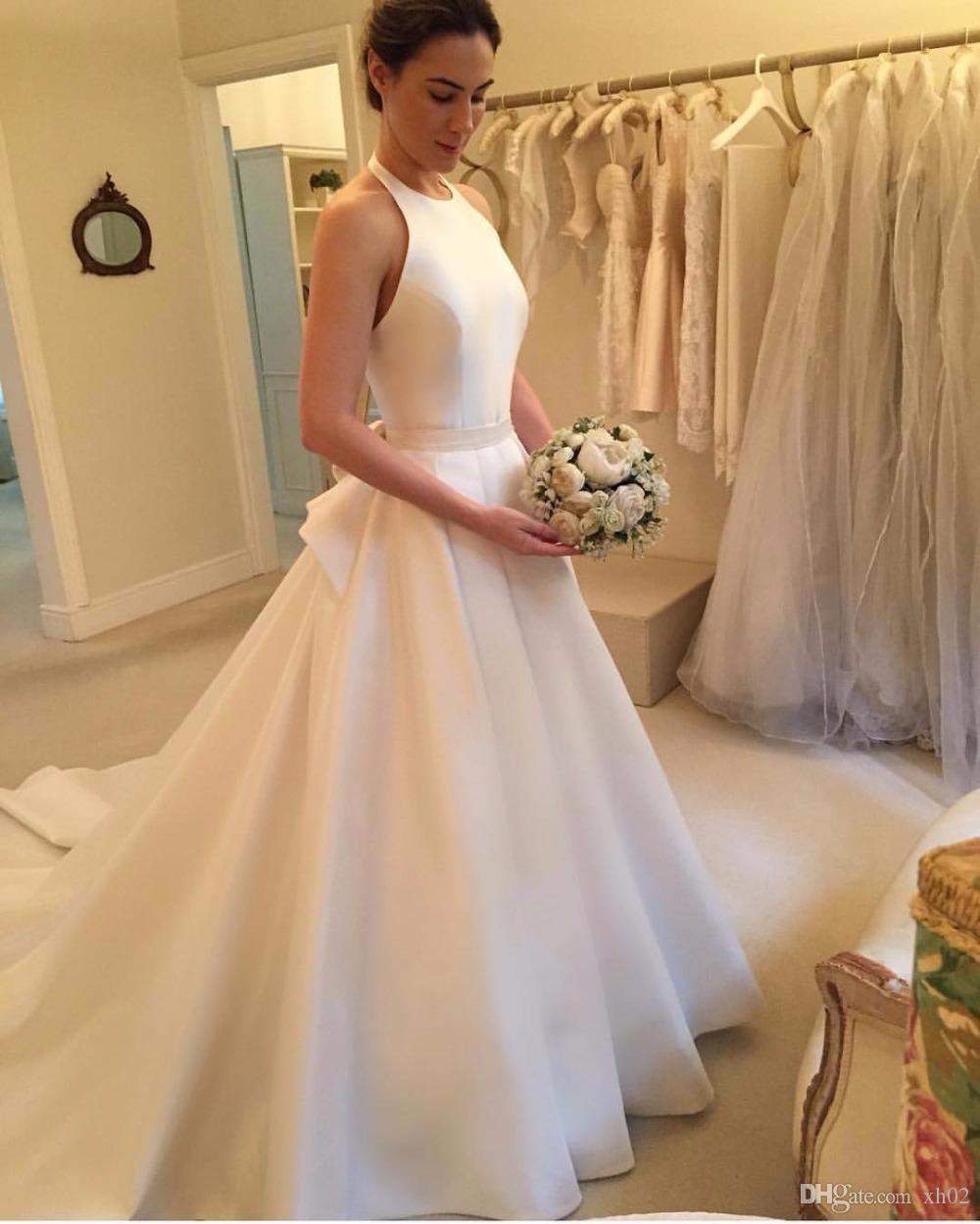 Discount 2019 A Line Wedding Dresses Halter Bridal Gowns Plus Size