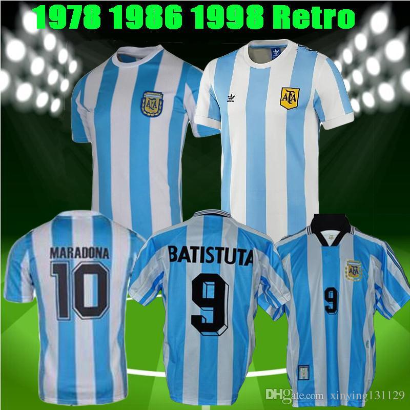 7524e19b6 2019 World Cup 1978 1986 1998 Retro Version Argentina Soccer Jersey ...