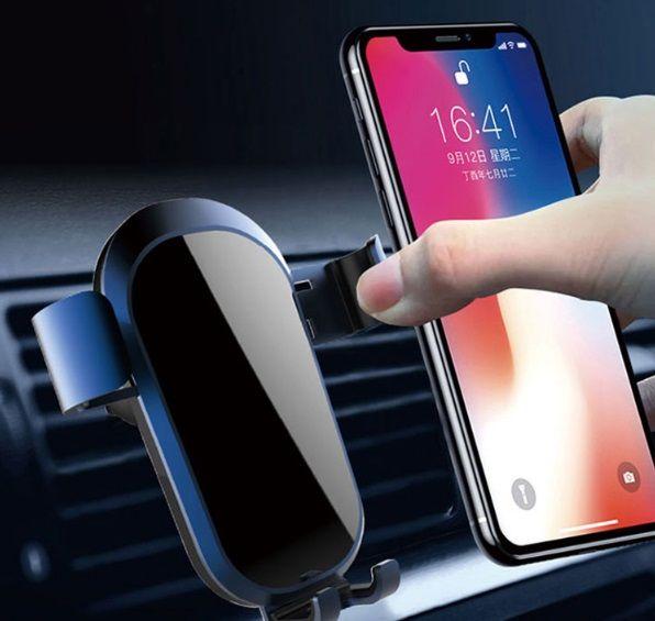 Mais novo inteligente infravermelho qi sem fio 10 w carregador de carro rápido indução automática telefone mount holder para telefone inteligente