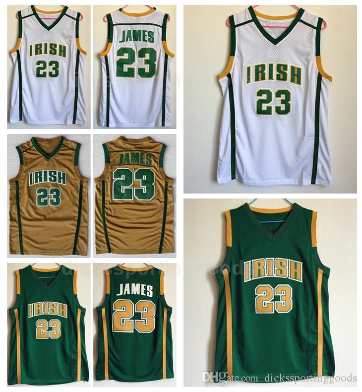 promo code 62060 f2aa9 NCAA College 23 LeBron James Irish St. Vincent Mary Jerseys Basketball High  School James Jersey Men University Breathable Green Team White