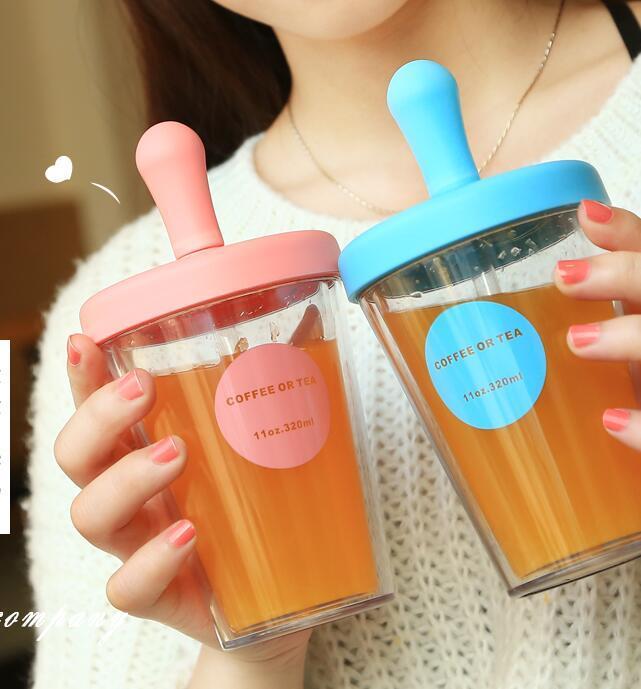 Bicchieri da viaggio isolati con coperchi e cannucce 520ML 320ML - Bicchieri di plastica trasparente a doppia parete Bottiglia di acqua Tazza Tazza Tazza per donne Ragazze