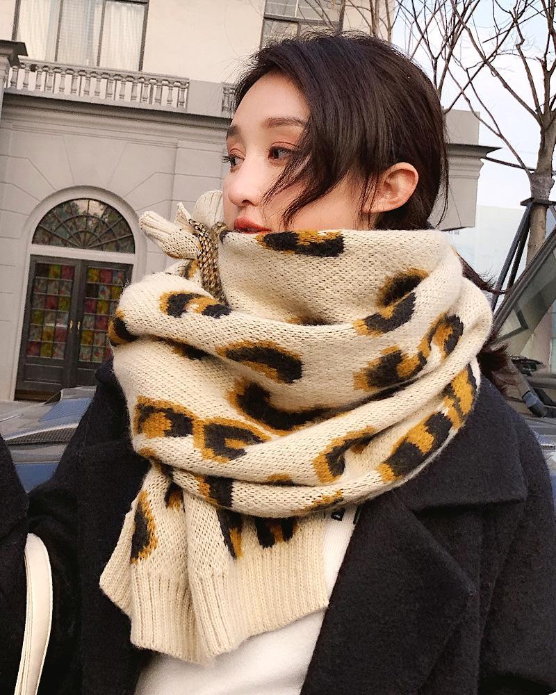 Acquista Sciarpa Invernale Donna Stampa Leopardata Sciarpe Femminili  Scaldacollo Grande Lavorato A Maglia Scialli Caldi 210   90cm 170g A  25.26  Dal ... 2689085b04c1
