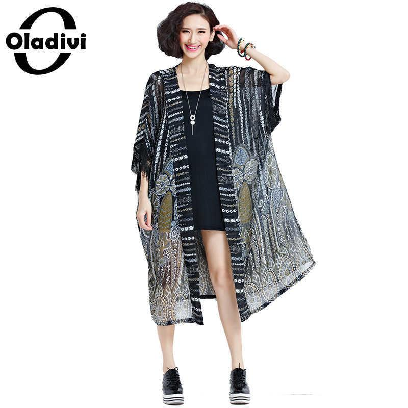 0477d05f69d6 Oladivi Tallas grandes Mujer Blusas Camisa Tops Largo Kimono Cardigan  Blusas Playa Ropa de abrigo delgada Cubierta de protección solar del verano  8xl ...
